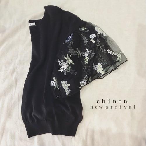 花刺繍チュール袖ニット