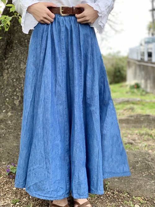 Vintage Denim Flare Skirt Made In USA