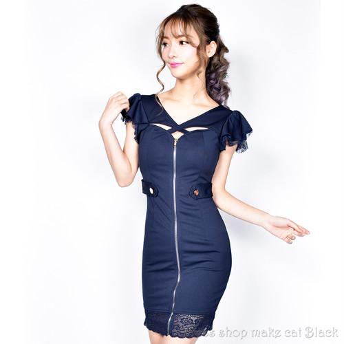 ☆SALE☆ (S,M,Lサイズ) ストレッチフロントジップミニドレス キャバドレス  二次会 822