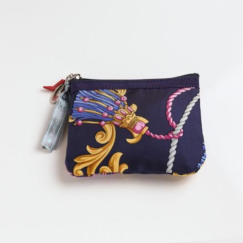 横浜のシルクスカーフを使ったポーチ【キー&コインケース】ネイビータッセル