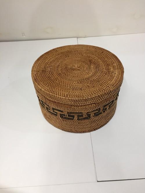 アタ 蓋付き 模様編み 丸型 (小)