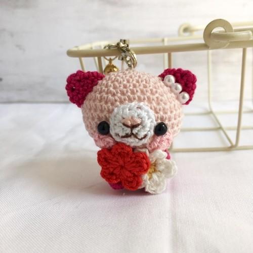 【受注生産】淡ピンク・ルビー色ネコさん*鈴付きイヤホンジャックストラップ