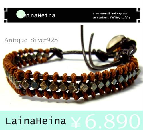 LainaHeina/アンティークシルバー925ブレスレット:16cm?21cmダブル