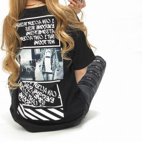 ストリート バクプリ photo×ワッペン  BIGTシャツ オーバーサイズ ブラック