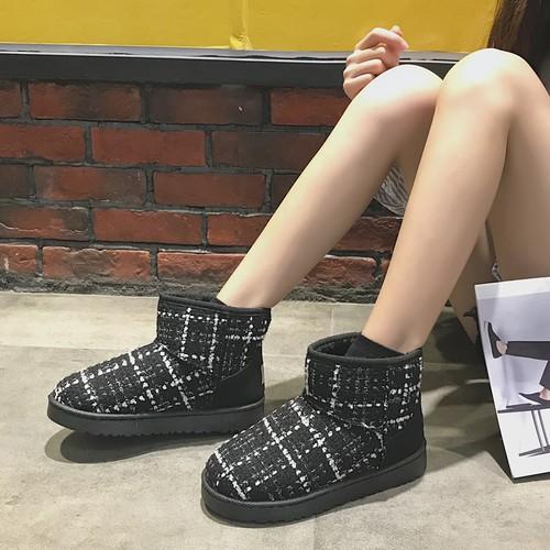 【シューズ】チェック柄あったか厚くするファッションショートブーツ