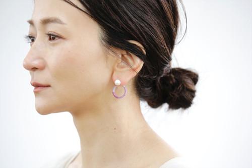 【hamon】波紋 片耳 フープ ピアス イヤリング変更可 クリスタル パール ウール