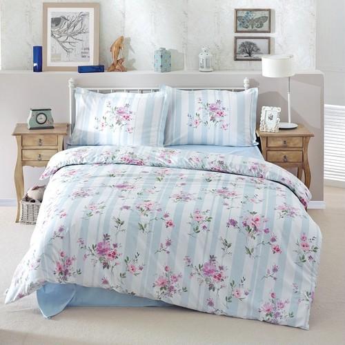トルコ製 シングル ベッドカバー 3点セット DORNITA ブルー