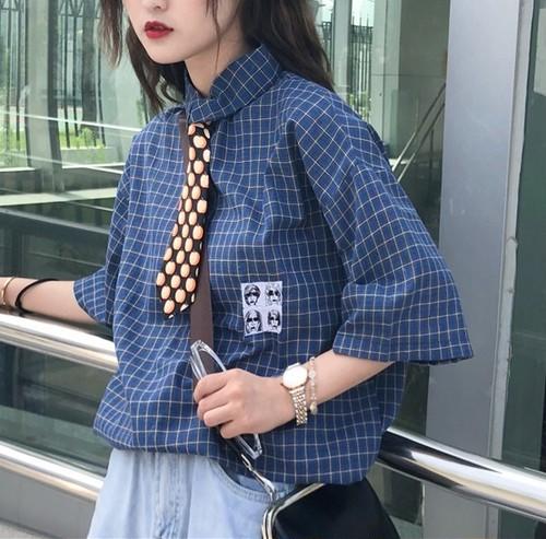 【即日発送可能】チェックサマーシャツ【A209】