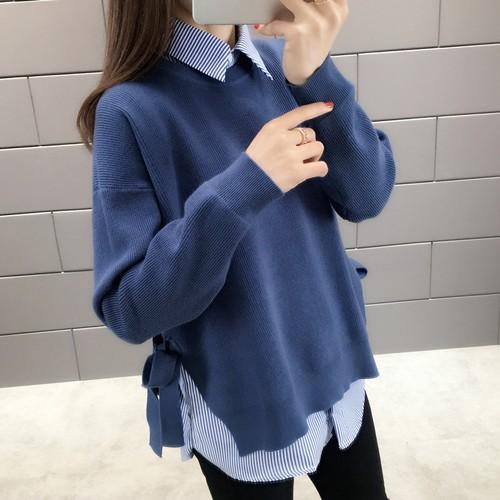 【トップス】カジュアルゆったりラウンドネック長袖 レディースファッションセーター24175741