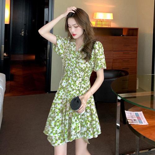 【dress】話題の注目 アイテムゆったり清新人気デザイン2色 花柄ワンピース