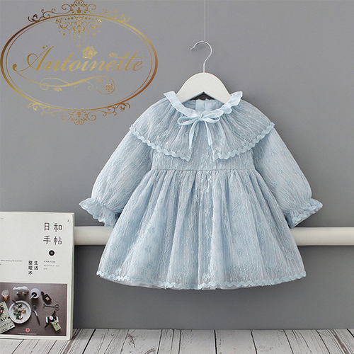 Blue Girls Princess Lace Dress 2020 Spring Lantern Long Sleeve Kids Baby Party Wedding Pageant Ball Gown Dresses