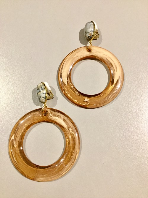 meow   marble ring earring (beige×brown)