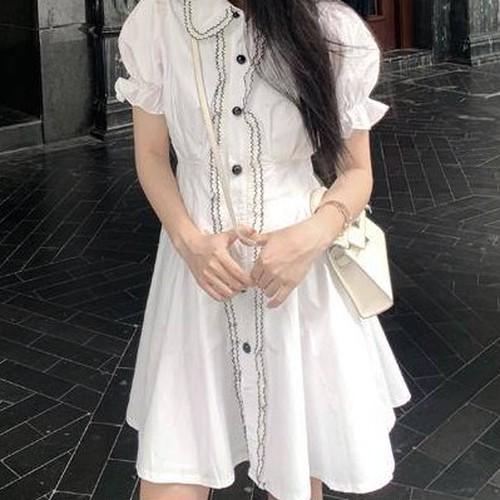 【ワンピース】着瘦せ優しい初恋森ガール気質よいホワイトワンピース