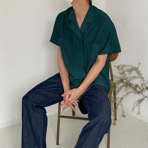 ダブルポケットオープンカラーシャツ BL6407