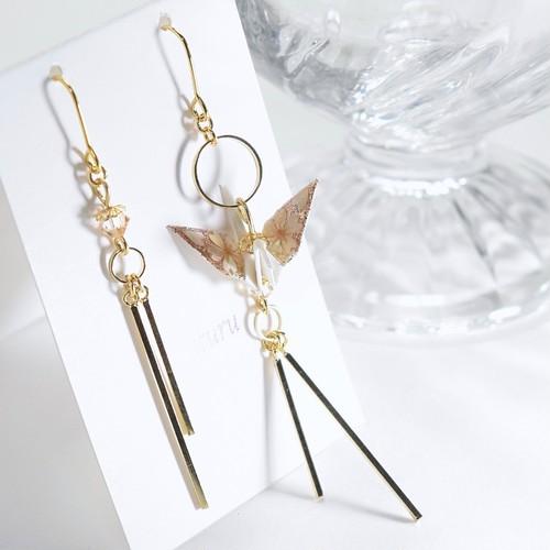 シャンパンピンク桜螺鈿折鶴