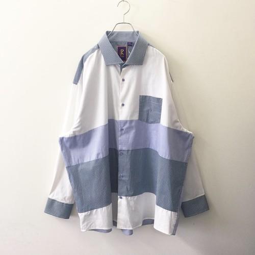 R.LEWIS 切替シャツ ビッグシルエット ブルー/ホワイト コットン size 3X メンズ 古着
