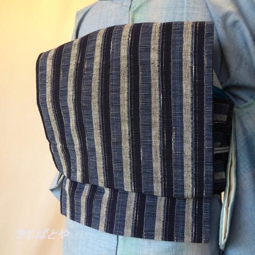 正絹紬 藍の縞の開きなごや 両面