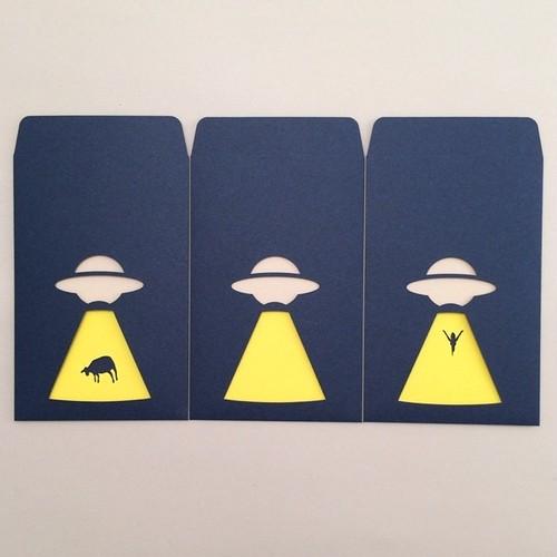 ユニーク紙雑貨 切り絵のぽち袋 UFO