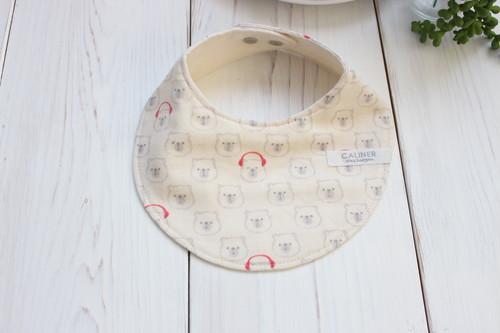 ヘッドホンくまちゃんのガーゼのスタイ◆日本製 ノーホルマリン ガーゼ くま