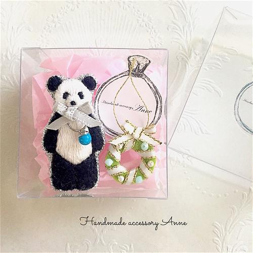 anniversary panda ブローチ リボン