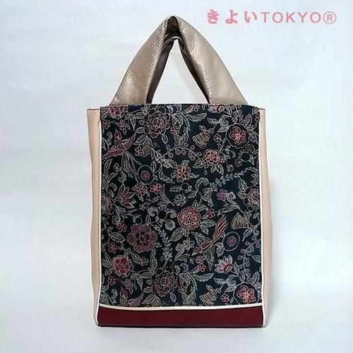 紺模様革/着物に合うバッグ(送料無料)