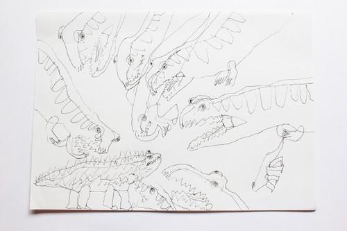 フレングエリサウルスが、サウロスクスをねらっているところ