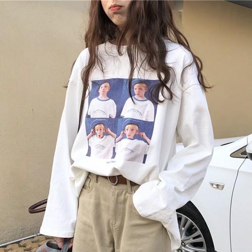 【トップス】カジュアルプリント長袖プルオーバーTシャツ23140229