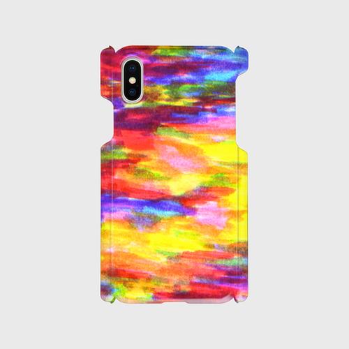 【iPhoneスマホケース側表面印刷】rainbow-colorpencil01(レッドイエロー)