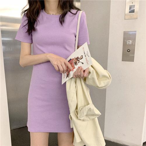 【ワンピース】全5色 スウィートガール合わせやすい着やせ見え半袖ワンピース