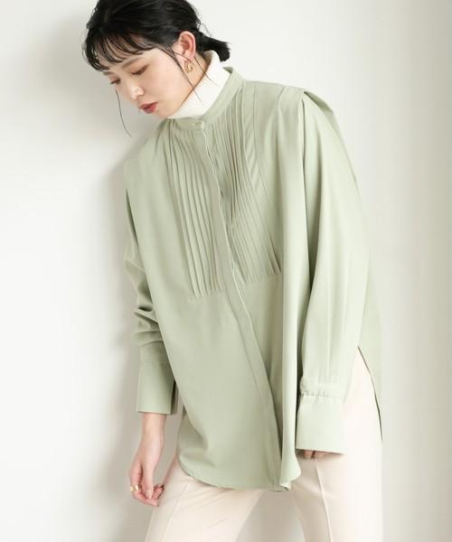 ショルダータックバンドカラーシャツ/LGRN
