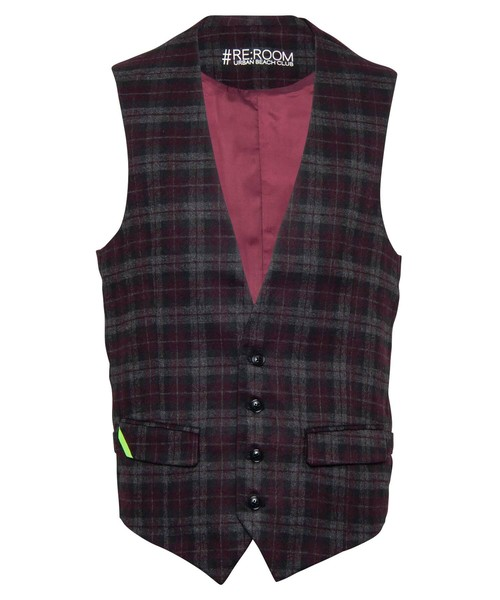 WOOL CHECK SLIM GILLET[RUJ007]