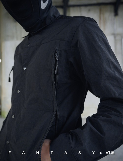 NOSUCISM 20AW ジッパーポケット ストラップスプリットシャツ