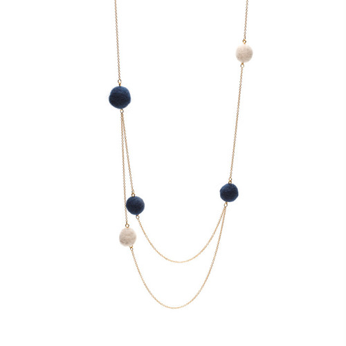 Random Felt Ball Double Necklace - Navy
