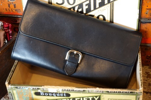 A.P.C. black leather buckled Clutch