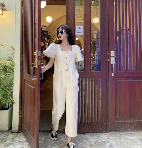 2色 オールインワン ゆったり 半袖 無地 カジュアル シンプル 韓国 オルチャン ファッション
