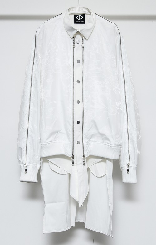 Blouson Shirts + Sleeveless Set  (White)