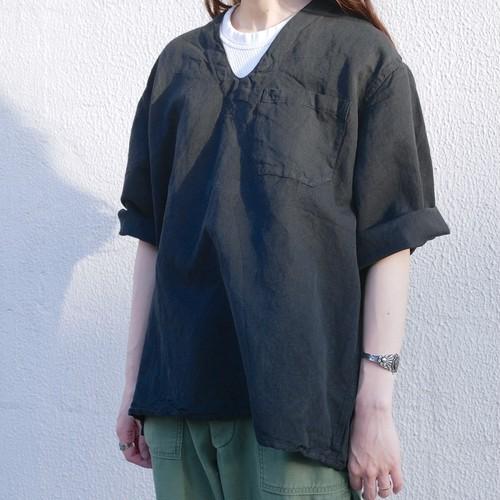 【DEADSTOCK】ユーロ 5分袖 スリーピングシャツ ブラック 後染め