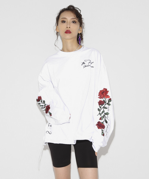 9th Anniversary Rose Embroidery Long sleeve T-shirt [White]