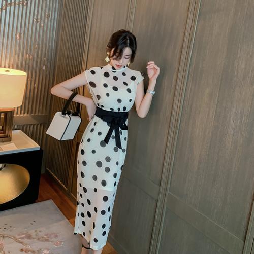 【dress】おしゃれ!ファッションドット柄着痩せデートワンピースゆったり2色