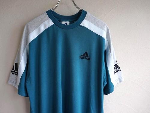 1990's [adidas] エキップメントロゴ Tシャツ グリーン×グレー 表記(M) アディダス