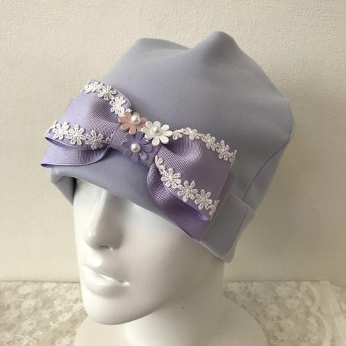 お花とレースのケア帽子 ラベンダー系