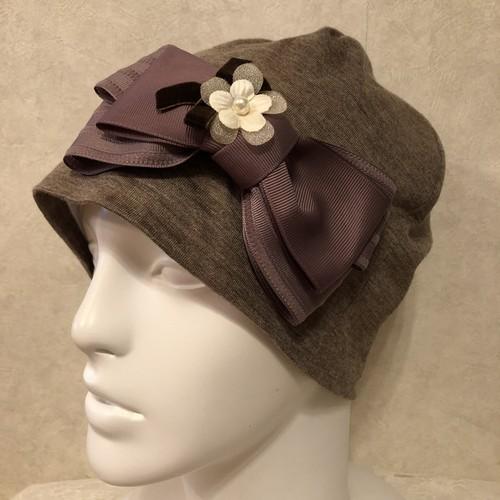 インターストライプリボンとお花のケア帽子 ウール茶系