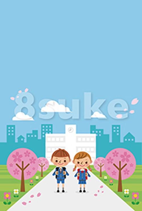 イラスト素材:入学式イメージ/小学生男女(ベクター・JPG)