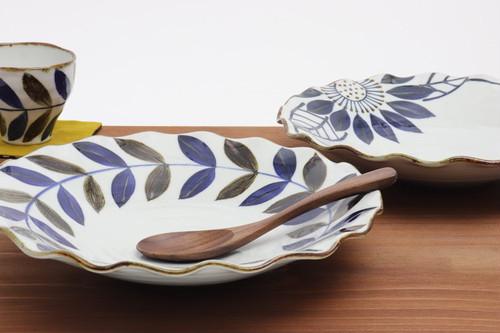 【波佐見焼】8寸波皿 ブルー / [Hasami-yaki] Deformed plate 26cm 'Blue'  #016