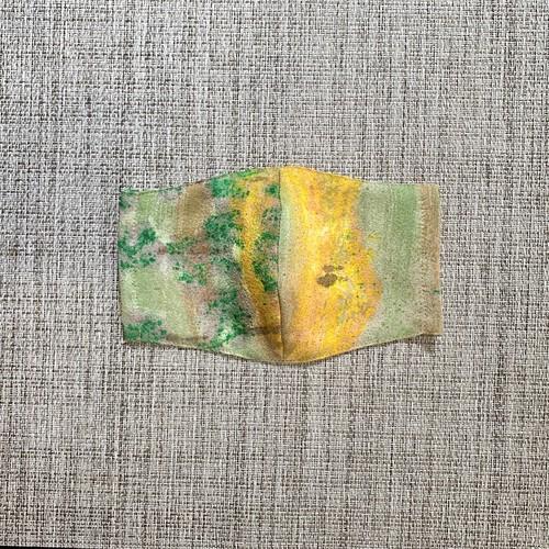 マスク 絹・さらし 大人用 抽象模様 黄・緑