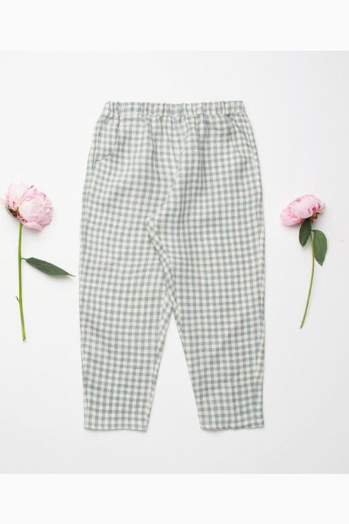 Nellie Quats Jumping Jack Trousers - Blue Check Linen