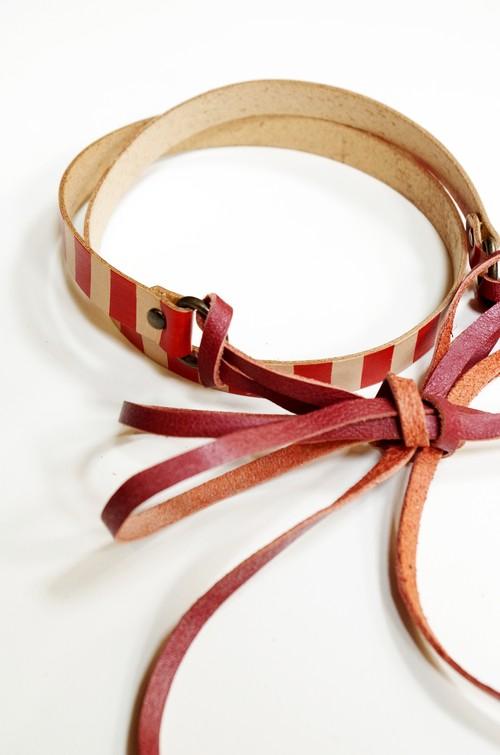 グラースオリジナルリボン結びレザーベルト帯〆 赤×赤