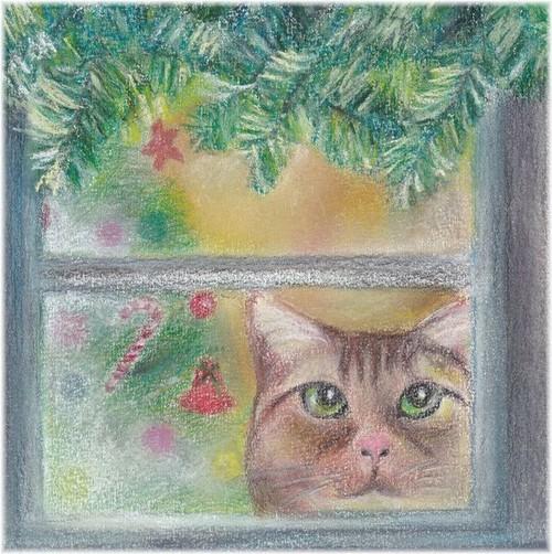 クリスマス 窓のネコL(パステル画 原画) 額装込み