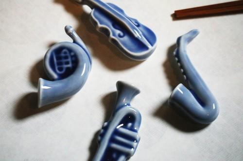 楽器箸置き カルテット(トランペット ヴァイオリン サキソホン ホルン)