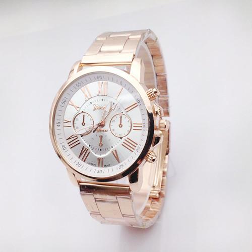 【ホワイト】◎高級感溢れる ピンクゴールド×人気カラー 時計 ウォッチN373-2